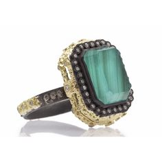 Carved Emerald-Cut Stack Ring with Malachite Doublet  Old World blackened sterling silver and 18k yellow gold carved emerald-cut stack ring with Malachite/Blue Topaz doublet and white diamonds. Diamond Weight 0.36ct https://facebook.com/DiamondDreamFineJewelers https://twitter.com/Diamond_Dream_ https://instagram.com/diamonddreamjewelers