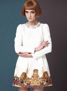 Women European Luxury Horse Paint Palace Bead Long Sleeve Dress