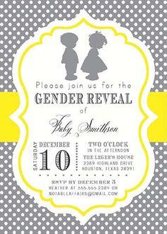 Boy Girl Silhouette Baby Shower Gender Reveal Twins Invitation