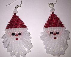 Santa Earrings Fluffy Beard by shamlynn on Etsy