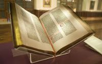 1455 – 1456   Johannes Gutenberg, working with merchant and money-lender Johann Fust and printer Peter Schöffer, completed printing the 42-line Bible (B42) (Gutenberg Bible), the first book printed in Europe from movable type.