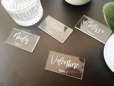 Place cards acrylic name for wedding baptism communion name tag party places escort card in wood place card for your guests Event Planning Quotes, Event Planning Checklist, Event Planning Business, Checklist Template, Party Places, Name Tags, Table Cards, Brochure Design, Communion