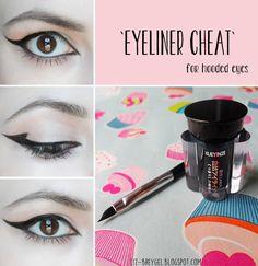Eyeliner `Cheat` for Hooded Eyes winged eyeliner for hooded eyes asian eyes small crease small eyelid anti aging makeup
