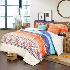 Carrot Orange Royal Blue Aqua and Beige Classic Persian Style Gypsy Themed Exotic Indian Pattern 100% Cotton Damask Full Size Bedding Sets