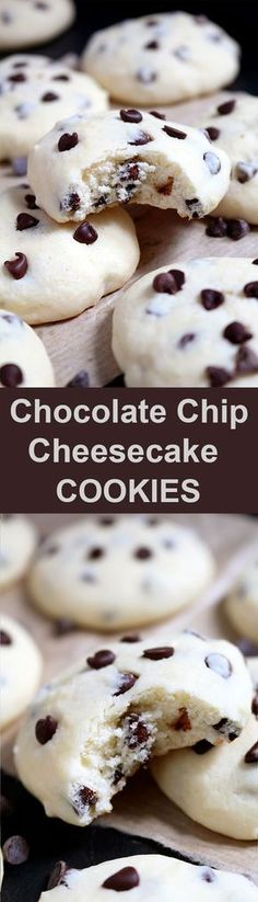 These cookies with cream cheese and chocolate chips simply melt in your mouth. These cookies with cream cheese and chocolate chips simply melt in your mouth. Chocolate Chip Cheesecake Cookies are simple, light and delicious ♥️ chip cookies Cookie Desserts, Just Desserts, Delicious Desserts, Dessert Recipes, Yummy Food, Tasty, Delicious Chocolate, Chocolate Recipes, Chocolate Smoothies