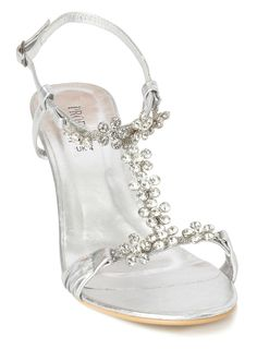 Girls silver sparkly flat sandals with butterfly trims