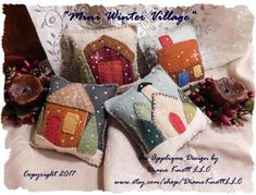 Mini Winter Village Wool Applique Bowl Fillers or Sachets | Etsy Wool Applique Patterns, Felt Applique, Felted Wool Crafts, Felt Crafts, Felt Christmas Ornaments, Christmas Bowl, Cowboy Christmas, Country Christmas, Christmas Christmas
