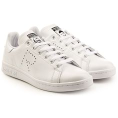 Adidas by Raf Simons Adidas by Raf Simons Stan Smith Leather Sneakers (15.700 RUB) ❤ liked on Polyvore featuring shoes, sneakers, white, adidas footwear, leather shoes, white trainers, leather trainers and white leather trainers