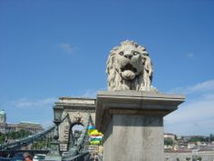 Lion monitor the Chain Bridge in Budapest