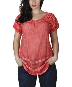 Another great find on #zulily! Red Crochet-Accent Scoop Neck Top - Plus #zulilyfinds