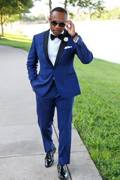 Royal Blue Groom's Tuxedo for Modern Black Tie Wedding.  Groom's Attire by: Blacklapel Custom Clothiers      For more details visit Blacklapel.com!   #blacktie #tuxedo #groomsattire #groomsoutfit #shawltuxedo #formalwedding #menswear
