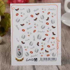 $2.24 1 Sheet 3D Nail Art Sticker Elegant Lady Kiss Me Nail Decal Manicure Nail Decoration S-32 - BornPrettyStore.com