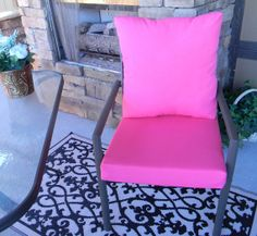 Outdoor Solid Hot Petunia Pink Cushion & Back Pillow Set for Patio Dining - Choose Size PillowsCushionsOhMy, $69.99 Pink Cushions, Seat Cushions, Back Pillow, Pillow Set, Patio Dining, Dining Chairs, Petunias, Hot, Outdoor