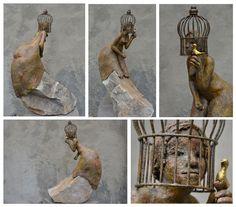 Marianne van den Berg, Vogelvrij, ceramic patinated 59 x 17 x 40