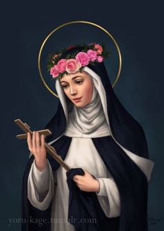One of the two patron saints of my old school, St. Rose of Lima -- done for their anniversary yearbook. Catholic Art, Catholic Saints, Patron Saints, Roman Catholic, Religious Art, Catholic Pictures, Jesus Pictures, St Rita Of Cascia, St Rose Of Lima