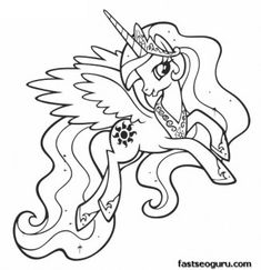 Printable My Little Pony Friendship Is Magic Princess Celestia Coloring Pages