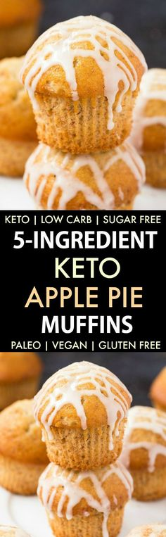 Low Carb Apple Pie Muffins (Keto, Paleo, Vegan, Sugar Free)- Fluffy bakery style apple pie muffins using 5 ingredients and made with NO eggs and NO sugar- The ultimate guilt-free snack or dessert! (egg and bread recipes coconut oil) Paleo Vegan, Vegan Sugar, Low Carb Desserts, Low Carb Recipes, Protein Recipes, Protein Foods, High Protein, Bread Recipes, Apple Pie Muffins