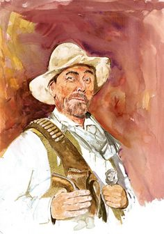 """Western actor and wonderful artist, Buck Taylor's watercolor painting of his friend and fellow """"Gunsmoke"""" actor.Ken Curtis, who portrayed """"Festus"""" Sketch Painting, Watercolor Paintings, Watercolors, Tarzan, Cowboy Pictures, Cowboy Pics, Crazy Pictures, Real Cowboys, Tv Westerns"""