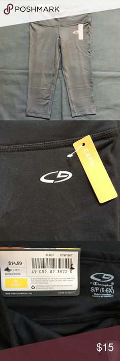 NWT Champion Athletic Capri Legging S (6-6X) NWT Champion Black Athletic Capri Legging.   Size Small (6-6X).  Perfect for your little dancer, gymnast or athlete.  Brand New;  Tags Attached.  Sell Only;  No Trades.  Bundle & save!!  Thanks!! Champion Bottoms Leggings