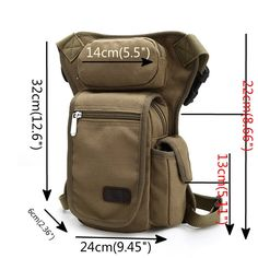 Men Canvas Drop Leg Bag Motorcycle Rider Tactical Military Bag  47f27731707
