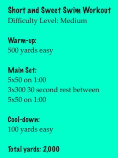 A quick swim workout to try: 2,000 yard workout