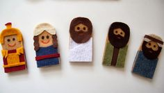 Jesus Finger Puppet to Color | And a little closer view of the five puppets.