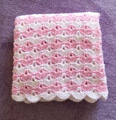 Crochet Baby Blanket Pink and White Other colors available