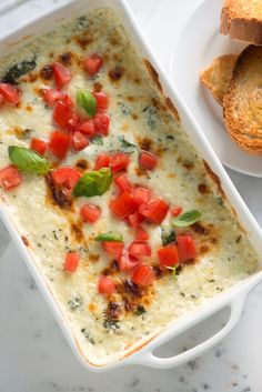 Baked Cheese Dip with Tomato, Basil, Mozzarella, and Monterey Jack
