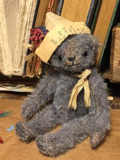 Lil' Bear Blue - original artist bear by SusanHopkirkFolkArt on Etsy
