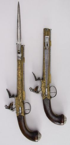Pair of Flintlock Pistols with Bayonets. Date: 1790. Culture: British. Medium: Steel, walnut, silver, brass.