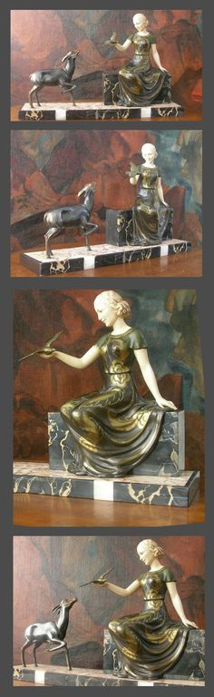 """Metal  painted and patinated 1930 art deco group.  Excellent condition.    8"""" high.  20"""" width."""