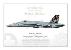 """SWISS AIR FORCE . SCHWEIZER LUFTWAFFE Fliegerstaffel 11 """"Tigers"""" Fliegergeschwader 13 Flugplatz Meringen/Unterbach, Switzerland. 2009 F/A-18C """"Hornet"""" Swiss JP-1366"""