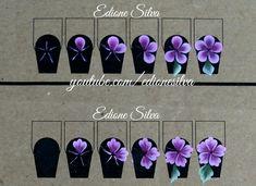 Natural Nail Designs, Gel Nail Art Designs, Folk Art Flowers, Flower Art, One Stroke Nails, Floral Nail Art, Latest Nail Art, One Stroke Painting, Nail Art Videos