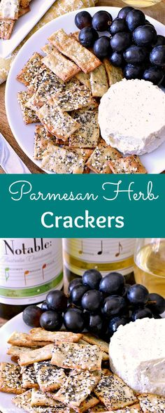 Easy Parmesan Herb Crackers recipe! Learn how to make homemade crackers seasoned with cheese and herbs, like basil, thyme, and garlic, and topped with sesame and poppy seeds. These healthy, artisan crackers take minutes to prepare and make an impressive a