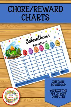 These charts are a fun colorful way to keep up with your child's weekly progress for completing chores. 32 pages total Learning Resources, Teacher Resources, Teaching Ideas, Learn To Spell, Learn To Count, Number Posters, Word Bingo, Kindergarten Blogs, School Reviews