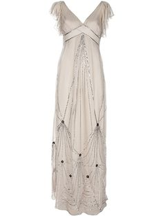 Pale grey silk 'Ella' dress from Alice By Temperley featuring a V-neck, short sheer sleeves with sequin detailing a scooped back and anintricate geometric sequin patterning.