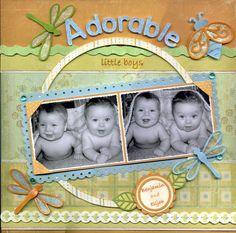 Adorable Little Boys Scrapbook Page great idea for twin photos Scrapbook Bebe, Baby Scrapbook Pages, Baby Boy Scrapbook, Scrapbook Sketches, Scrapbook Page Layouts, Scrapbook Paper Crafts, Scrapbook Cards, Scrapbook Photos, Photo Layouts