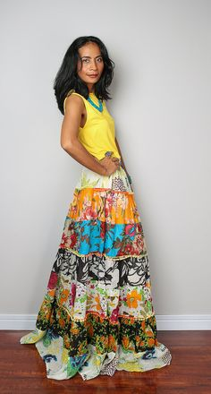 This stunning multicoloured boho hippie maxi skirt is the result of using  patches of fabrics from my previous designs. very unique :) You will find a