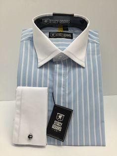 Stacy Adams Cerulean Long Sleeve Men's Dress Shirt Blue/White French Cuff #StacyAdams