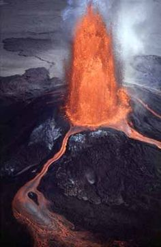 Fire Fountain aerial photo looking down into crater of erupting volcano - Hawaii