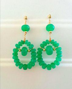 Chrysoprase earrings, Gold Filled