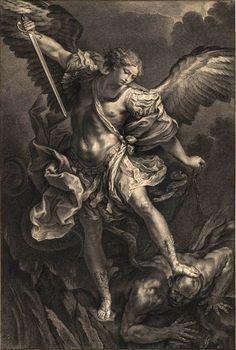 Jacob Frey after Guido Reni - L'archange Saint Michael terrassant le démon - gravure 1734