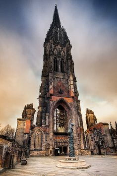 "St. Nikolai ""church"" - has been kept as a war memorial and it is one of the 'must see' places in Hamburg - Germany via flickr"