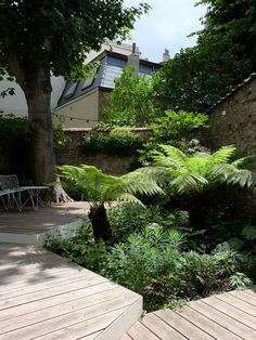 Great planting palette and good use of decking area installed above and around the mature tree Garden Paths, Garden Landscaping, Terrace Garden, Indoor Garden, Garden Art, Small Gardens, Outdoor Gardens, Urban Garden Design, Garden Architecture