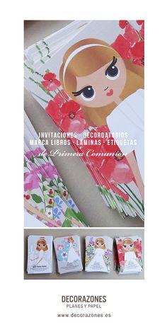 Decorazones.es _Los recordatorios de Primera Comunión para Lucía, misma modelo sobre cuatro fondos diferentes.
