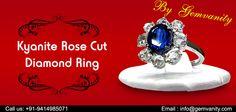 Stunning Kyanite Rose Cut Diamond Ring