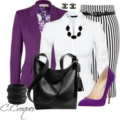 Purple+B&W - Trendy Fashion Jewelry Kitsy Lane Stylish Work Outfits, Classy Outfits, Stylish Outfits, Office Outfits, Trendy Fashion Jewelry, Work Fashion, I Love Fashion, Mode Outfits, Fashion Outfits