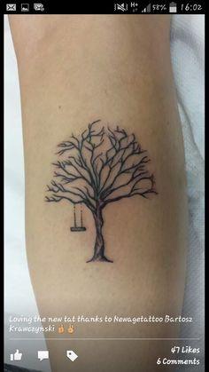 Small tree tattoo on calf