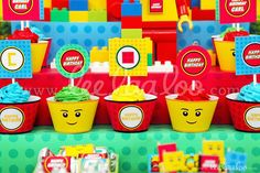 Fun cupcakes at a Lego boy birthday party!  See more party planning ideas at CatchMyParty.com!