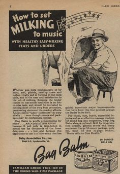 How to set milking to music.  It's all in the udders.  (Bag Balm, 1943)